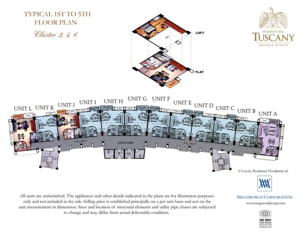 TUSCANY typical; 1st to 5th floor plan cluster 2, 4, 6