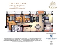 TUSCANY typical units A & B three-bedroom units typical 2nd to 14th floor plan