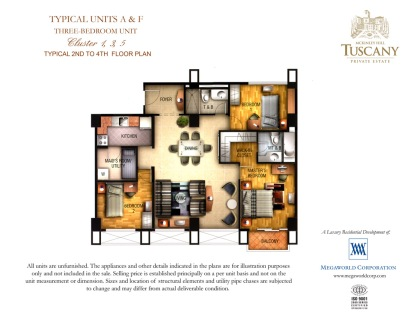 TUSCANY typical units A & F three-bedroom unit Cluster 1,3,5 Typical 2nd to 4th floor plan