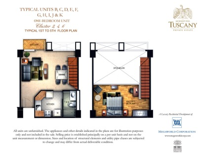 TUSCANY typical units b, c, d, e, f, g, h, i, j & k One bedroom unit Cluster 2,4,6 typical 1st to 5th floor plan copy