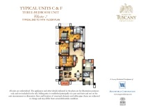 TUSCANY typical units C & F three-bedroom unit Cluster 7 typical 2nd to 14th floor plan